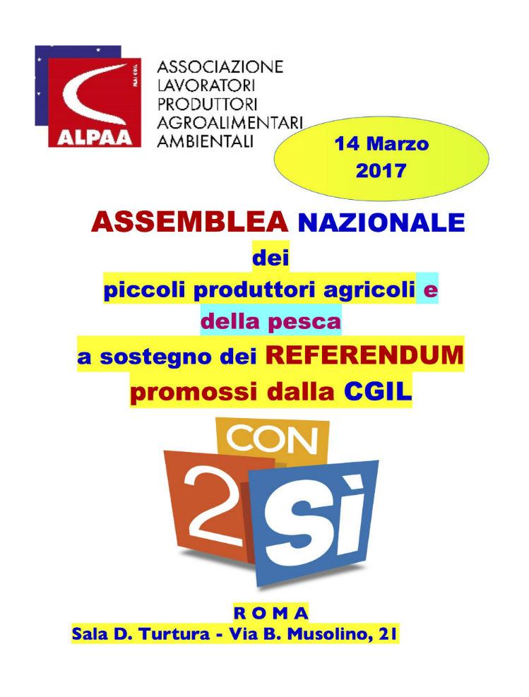 ASSEMBLEA NAZIONALE dei piccoli produttori agricoli e della pesca a sostegno dei referendum promossi dalla CGIL
